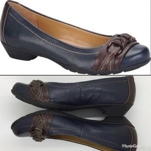 Softspots Posie Ballet Slip on Shoes Navy 6.5 wide